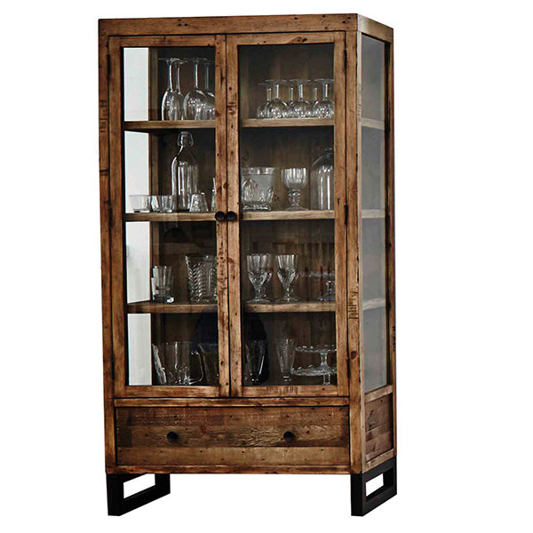 Standford Reclaimed Wood Glass Cabinet