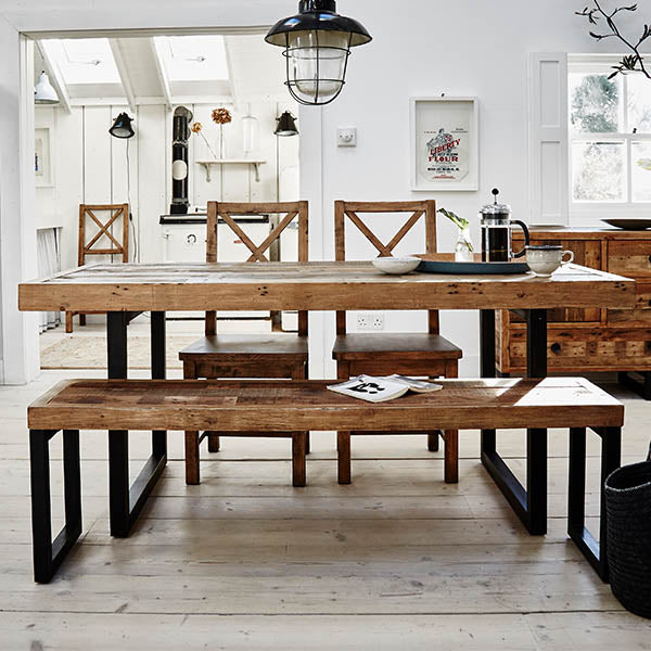 Standford Reclaimed Wood Dining Table and Bench