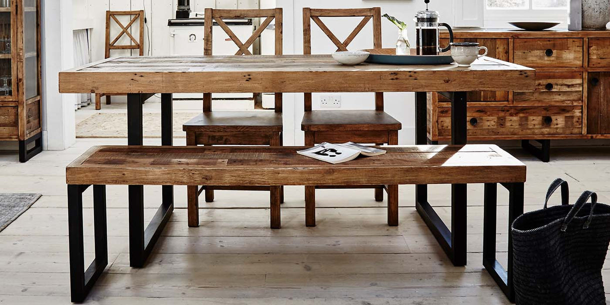 Reclaimed Wood Extending Dining Table & Seating