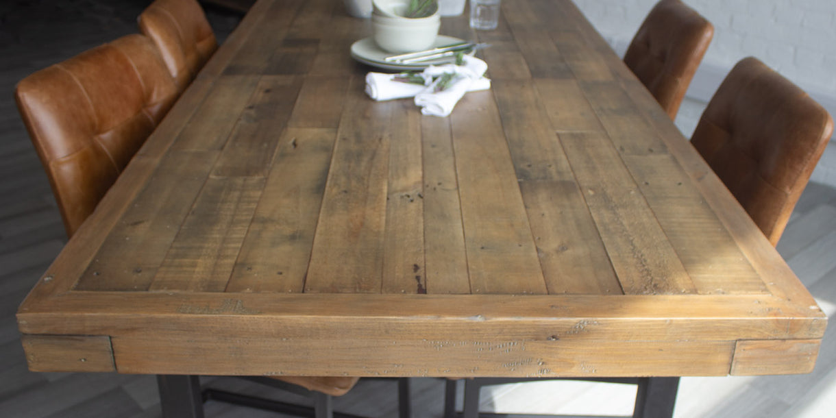 Standford Reclaimed Wood Extending Dining Table Top
