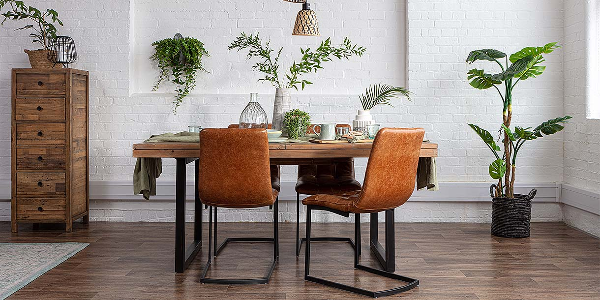 Standford Brown Leather Dining Chairs and Reclaimed Wood Dining Table