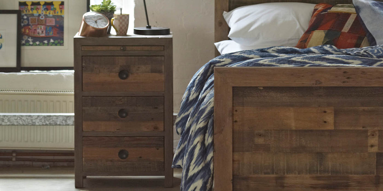 Standford Reclaimed Wood Bedside in Room