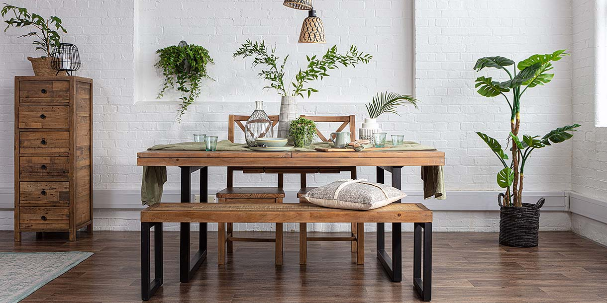 Standford Industrial Reclaimed Wood Dining Chairs and Table