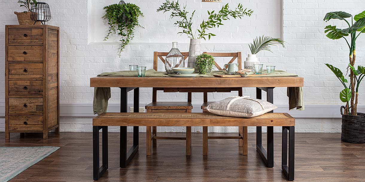 Standford Reclaimed Wood Dining Table with Bench and Chairs in Dining Room