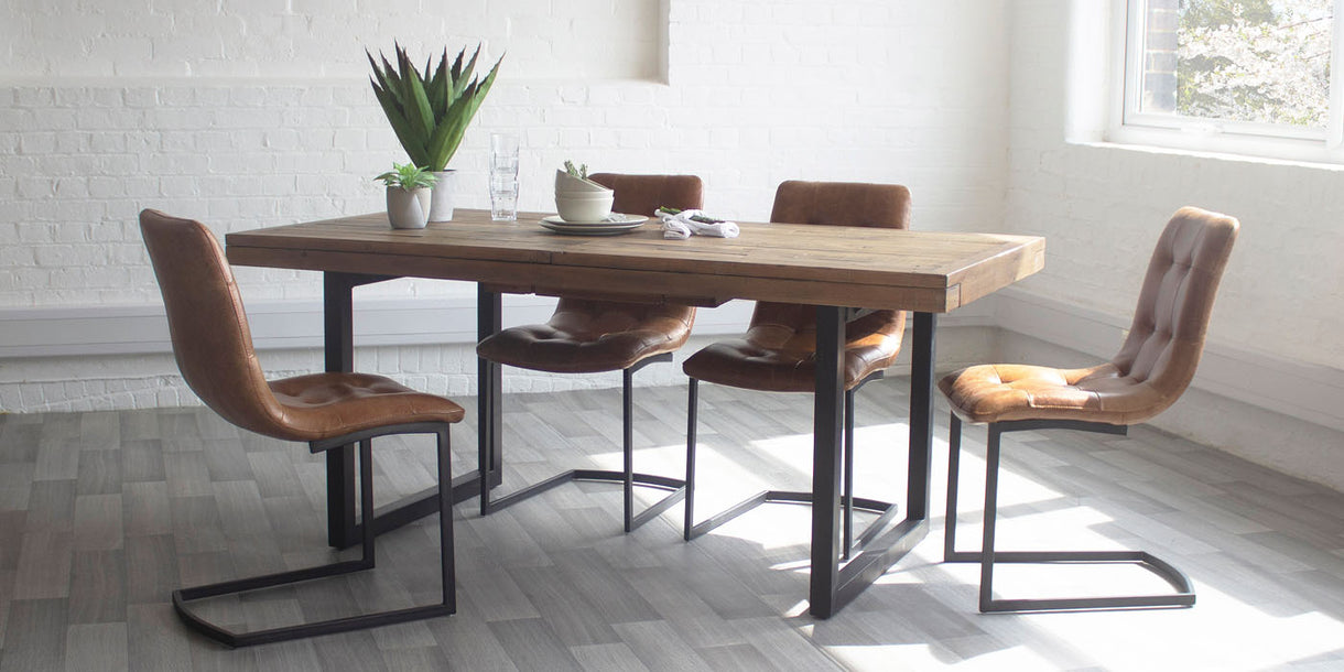 Standford Reclaimed Wood Dining Table and 4 Leather Chairs