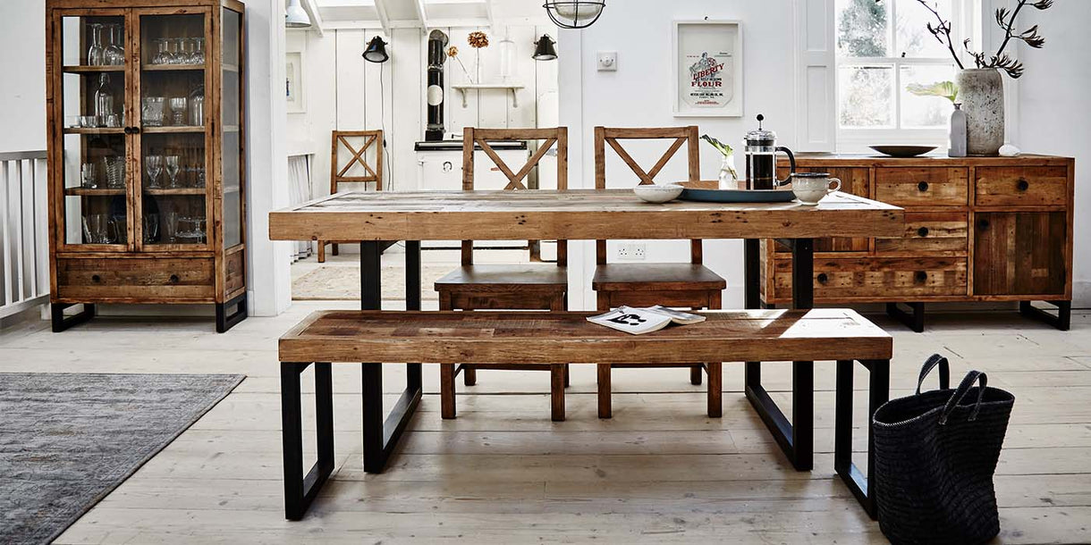 Standford Industrial Reclaimed Wood Extending Dining Table and chairs