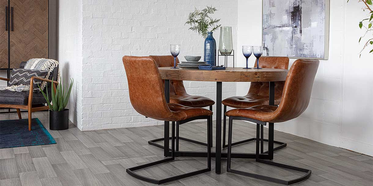 Standford Round Reclaimed Wood Dining Table and Brown Leather Chairs