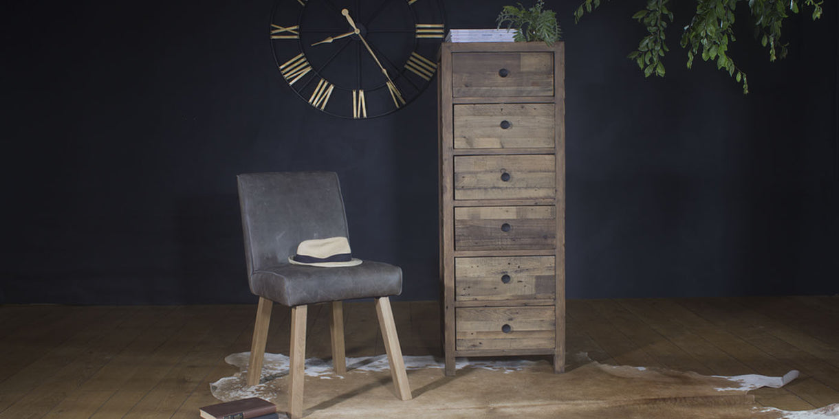 Standford Reclaimed Wood Tall Chest of Drawers & Barton Grey Leather Dining Bench