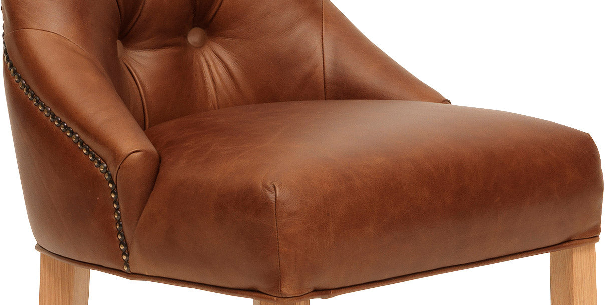 Seat of Stanton Brown Leather Dining Chair