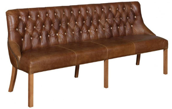 Tan Leather Dining Bench on wooden legs