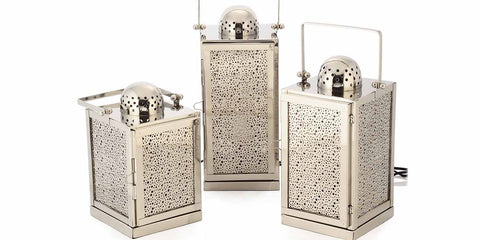 Stainless Steel Electric Studio Lanterns in 3 different sizes for hallway