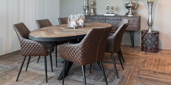 Sussex Oak Parquet Industrial Oval Dining Table and Gustav PU leather chairs