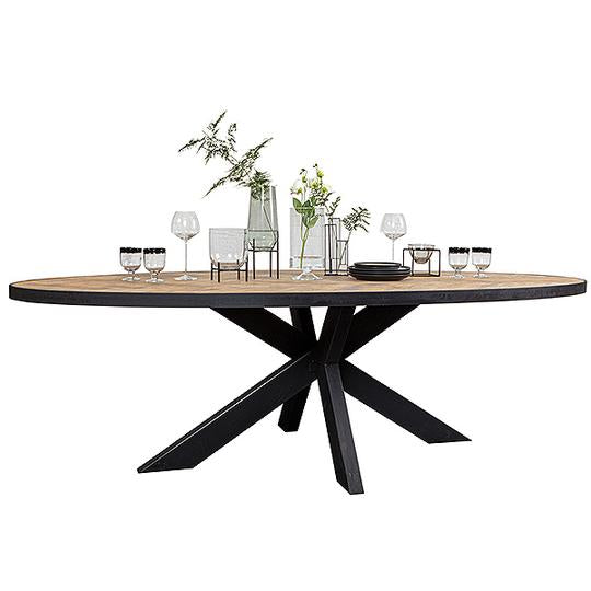 Reclaimed wood dining table with spider legs