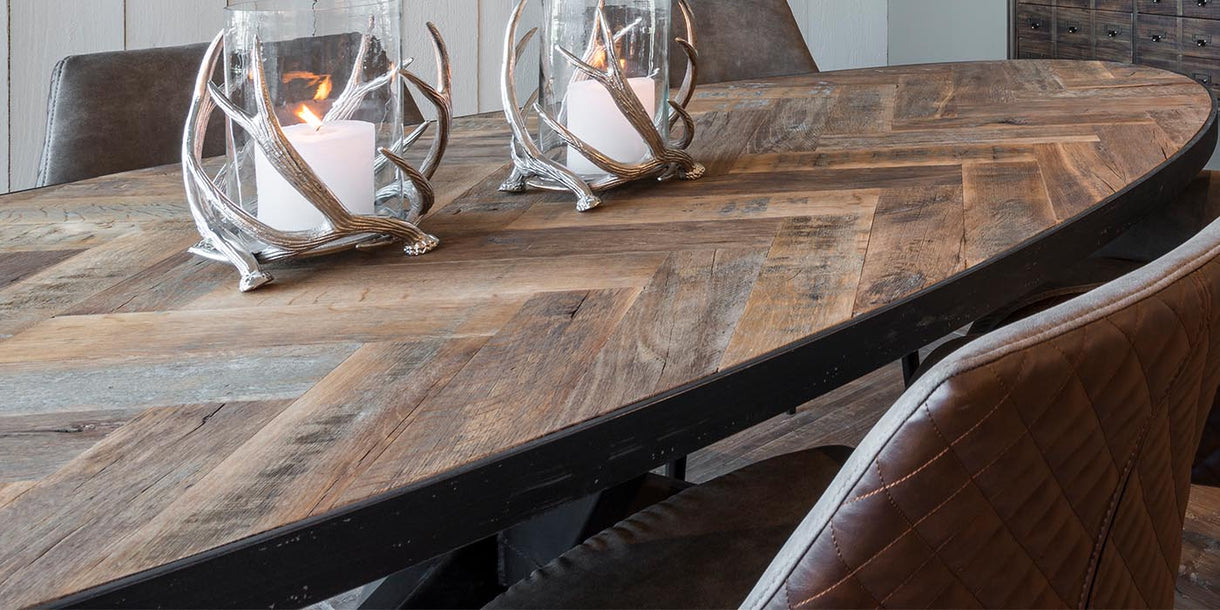 Sussex Oak Parquet Industrial Oval Dining Table Top