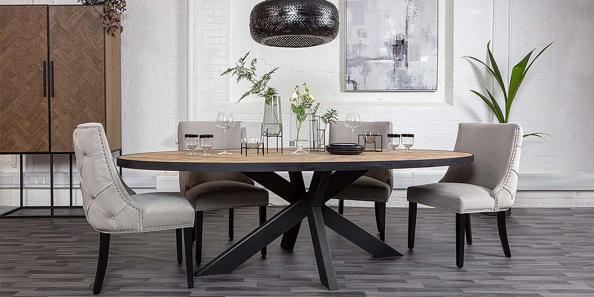 Sussex Oak Parquet Industrial Oval Dining Table and velvet chairs