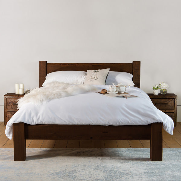 Beam Reclaimed Wood Dark Bedsides and Bed