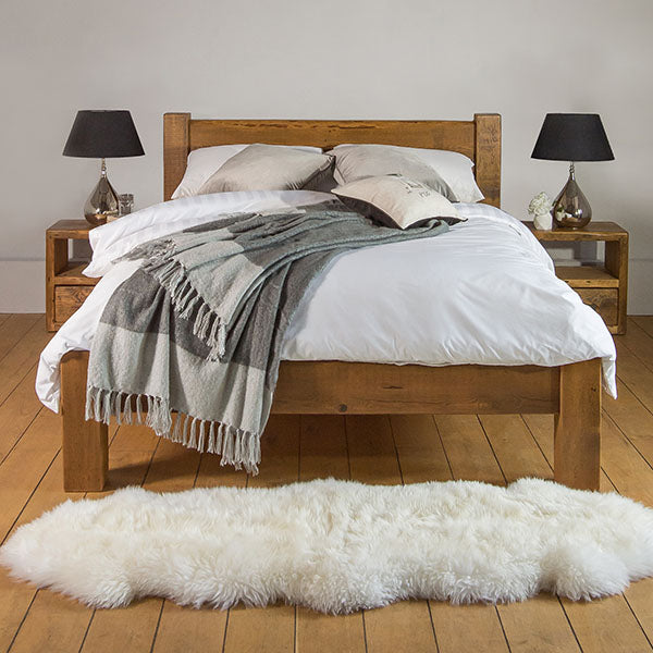 Beam Reclaimed Wood Bed and Bedsides