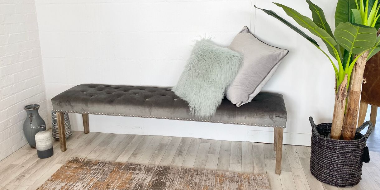 Telford Grey Velvet Dining Bench with Cushions