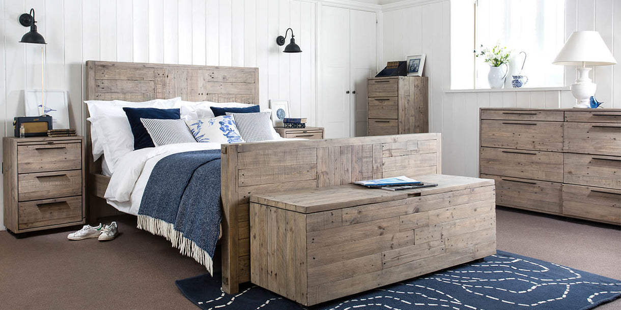 Thornton Reclaimed Wood Tall Chest of Drawers in Bedroom