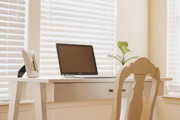 Organised office desk with a cream chair and a plant