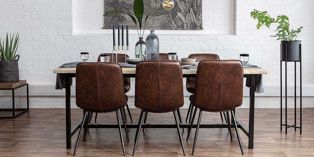 Tilde Faux Leather Dining Chair around 6 Seater Dining Table