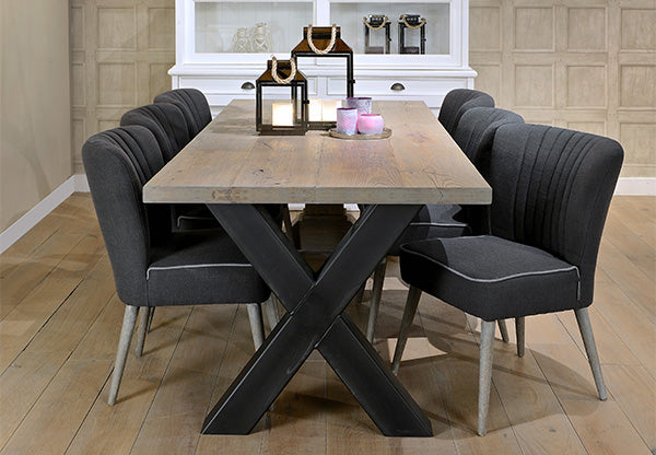 Industrial oak dining table on cross steel legs with dining chairs