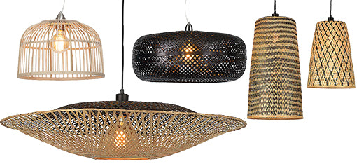 A collection of rattan and bamboo pendant lights
