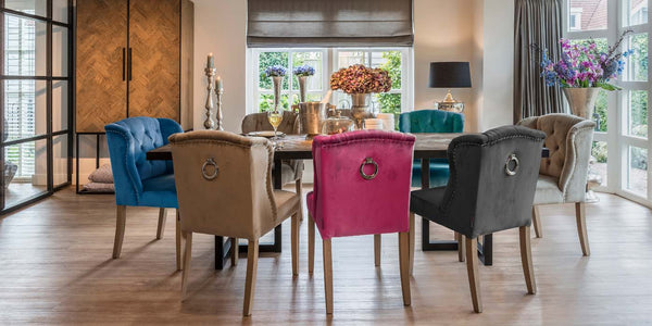 Velvet Dining Chairs and Reclaimed Table
