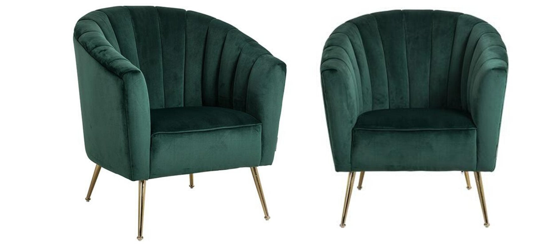 two green velvet armchairs with slim tapered gold legs.