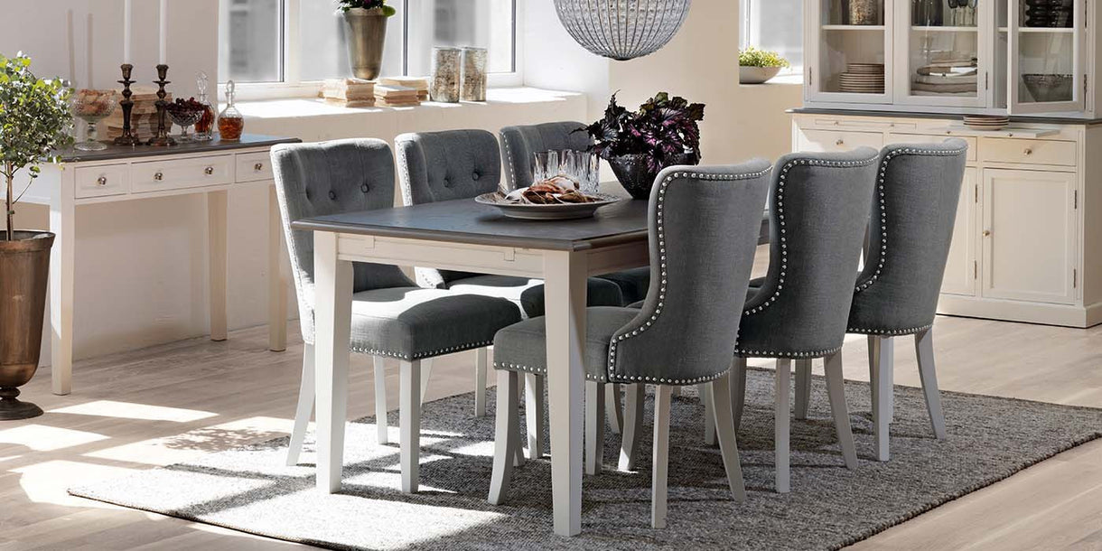 Victoria Distressed White Extending Dining Table and Chairs