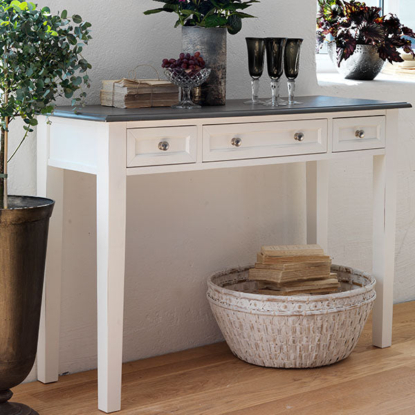 Victoria Distressed White Console Table with Drawers