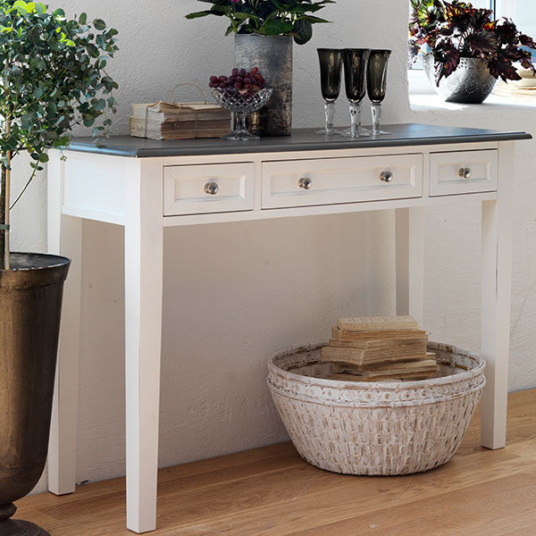 Victoria Distressed White Console Table