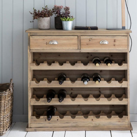 Chedworth Natural Wooden Wine Rack in Dining Room with Drinks