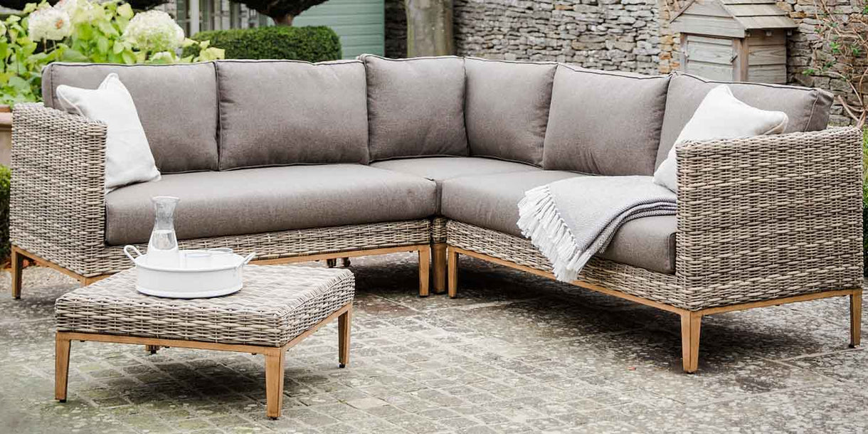Walderton PE Rattan Garden Corner Sofa Set with Coffee Table