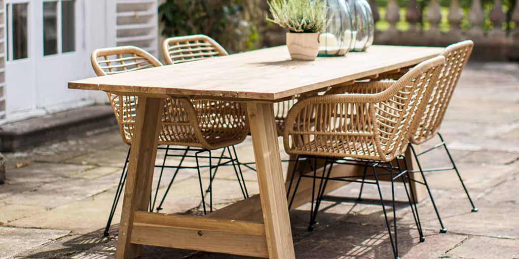 Whitcombe Teak Garden Trestle Table and Chairs
