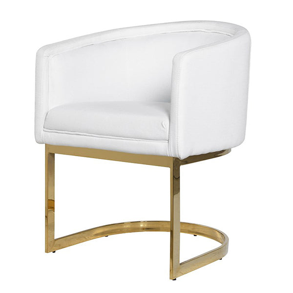 White Armchair with Gold Frame