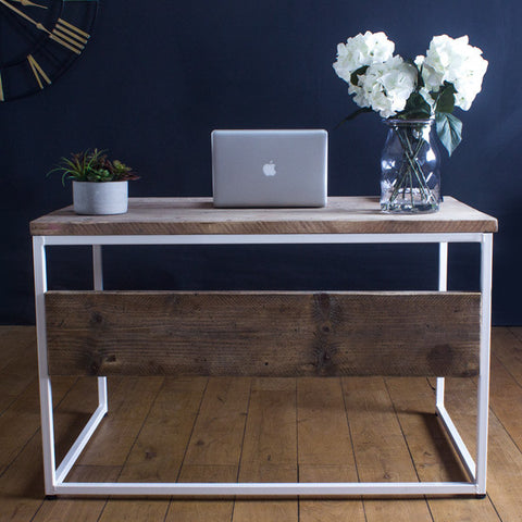 Oldman White Industrial Reclaimed Wood Desk with office clock