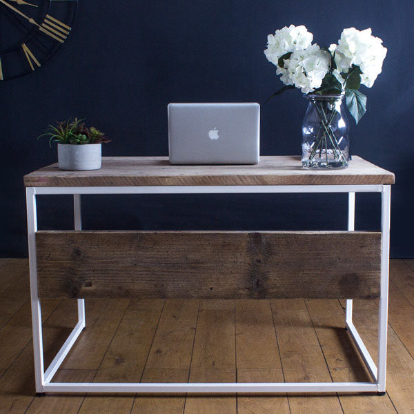 Oldman Industrial Reclaimed Wood Desk White Frame
