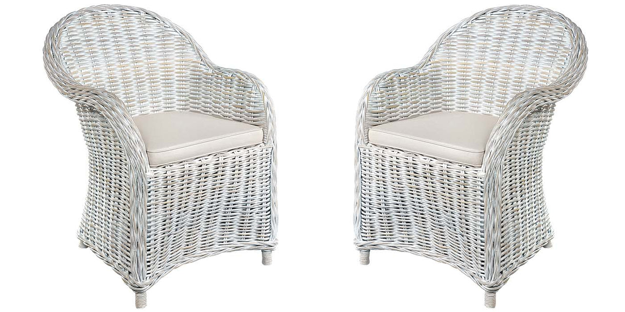 Whitewash Rattan Armchairs with Cushion