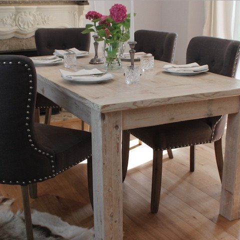 White Wash Inlay Reclaimed Wood Dining Table and Upholstered Dining Chairs