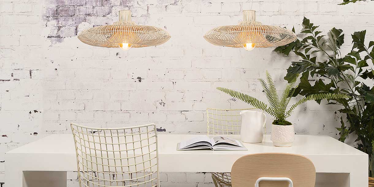 Wicker Dawn Double Pendant Light above dining table