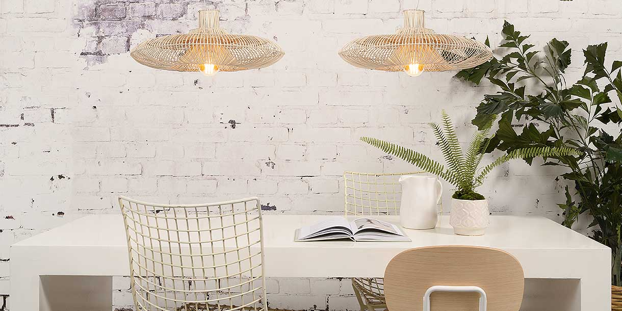 2 Wicker Dawn Pendant Lights above 4 seater dining table