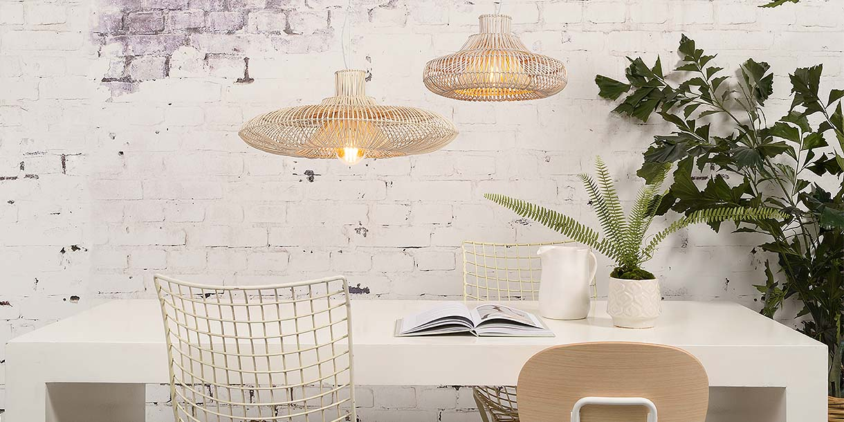 Wicker Hariam Pendant Lights above dining table