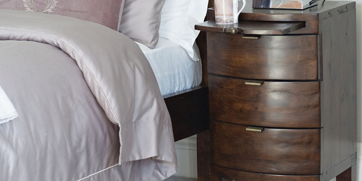 Winchester Dark Rustic Wooden Bedside Table Close up