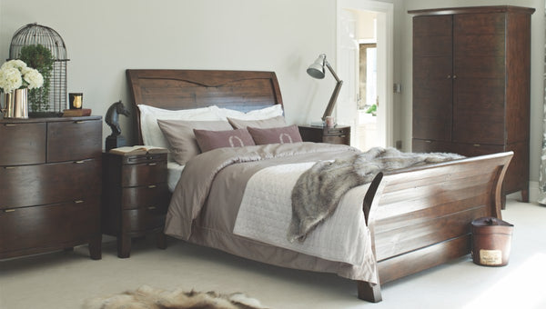 Winchester Dark Rustic Sleigh Wooden Bed in Bedroom