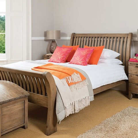 Winchester Rustic Wooden Bed Bedroom Furniture