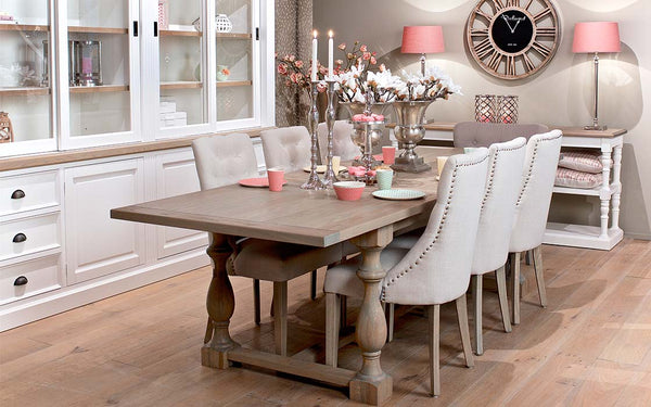 Windsor Oak Farmhouse Extending Dining Table extended