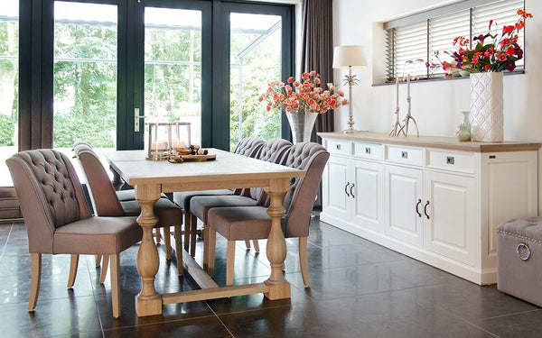 Windsor Oak Farmhouse Extending Dining Table and sideboard