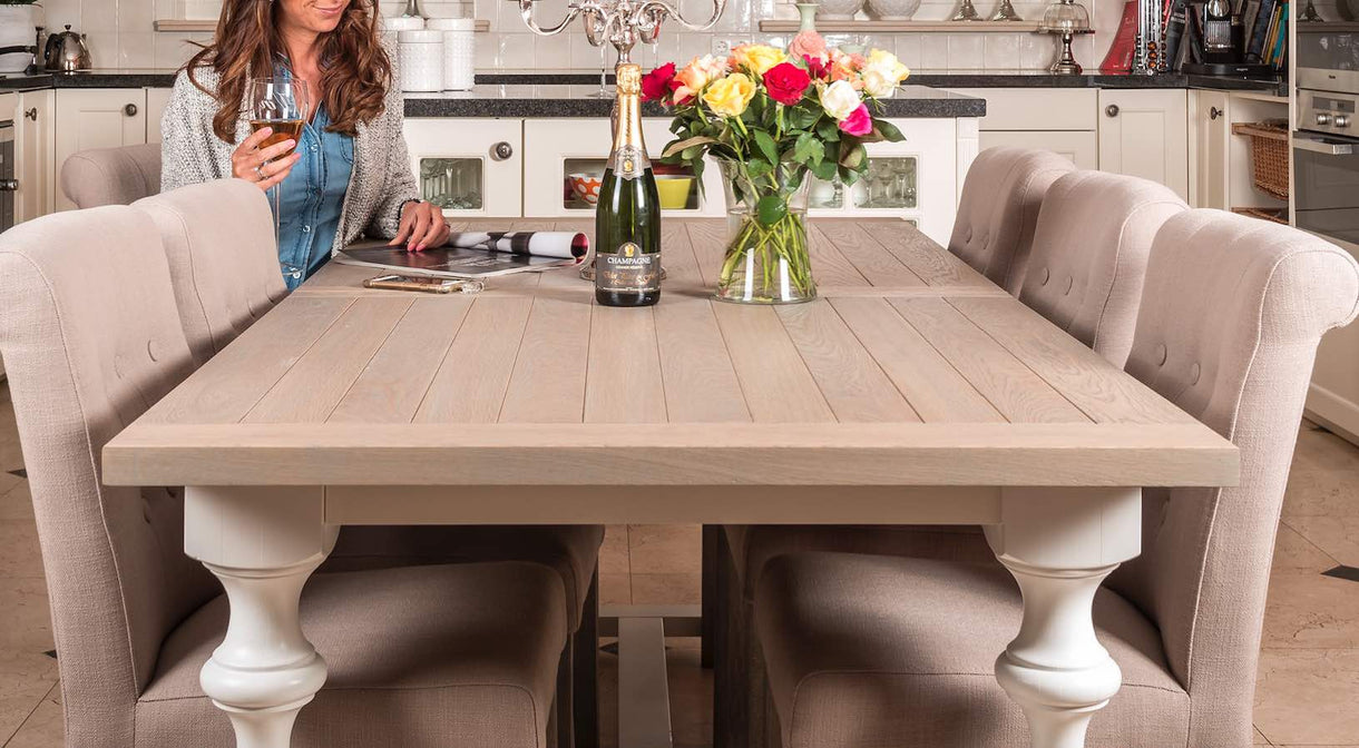 windsor oak white farmhouse extending dining table. Black Bedroom Furniture Sets. Home Design Ideas