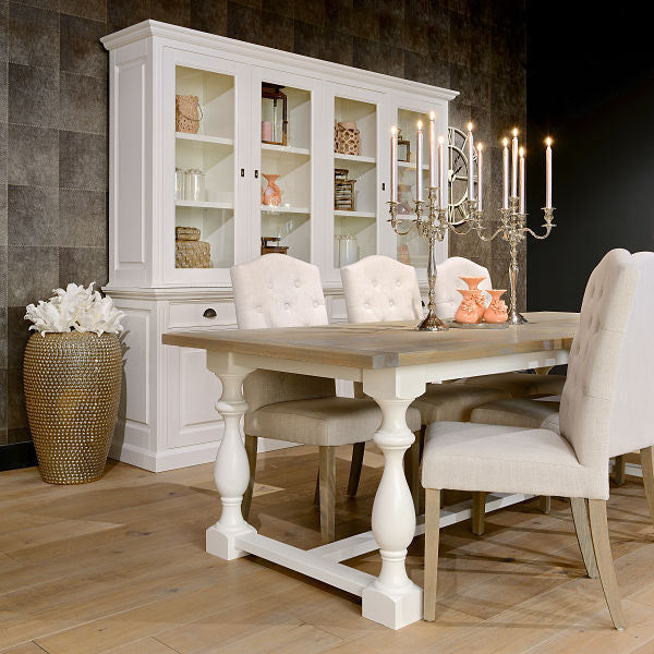 Windsor Oak Farmhouse Extending Dining Table with White Legs